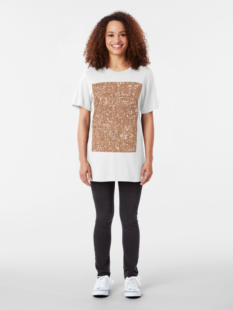 Alternative Ansicht von Roségold gemalte Pinselstriche und Glitzer Slim Fit T-Shirt