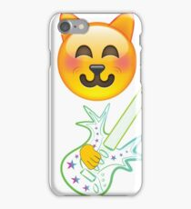 Funny Cat Emoji Playing Guitar iPhone Case/Skin