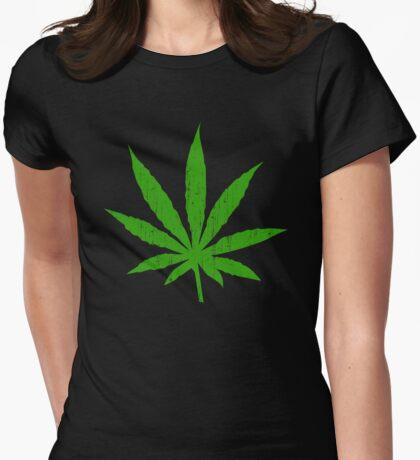 Marijuana Leaf Womens Fitted T-Shirt