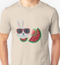 Hungriger Hipster Hase Unisex T-Shirt