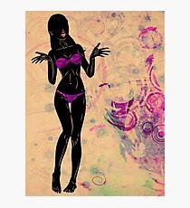 Grunge violet bikini girl silhouette Photographic Print