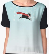 Holiday Boston Terrier Wearing Winter Scarf Women's Chiffon Top