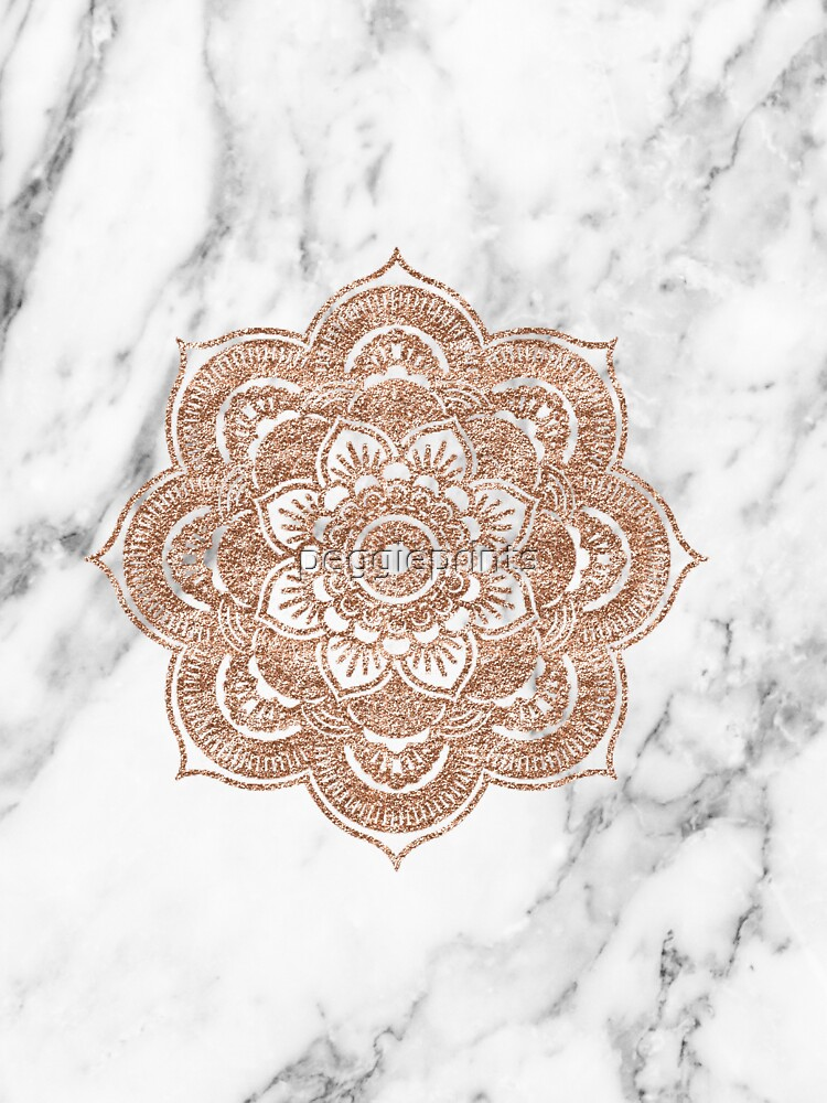 Roségold Mandala auf Marmor von peggieprints