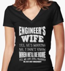 Engineer's Wife Funny Wedding Anniversary Gift T Shirt Women's Fitted V-Neck T-Shirt