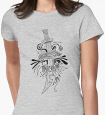 Symbolic Sword - Black & White Womens Fitted T-Shirt