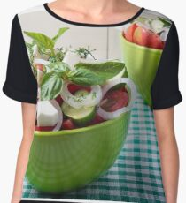 Vegetable vegetarian salad with raw tomato and cucumber Women's Chiffon Top