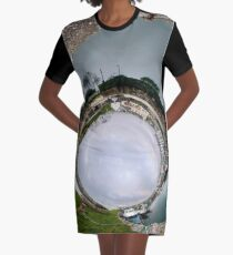 Hurry Head Harbour, Carnlough, County Antrim - Sky In Graphic T-Shirt Dress