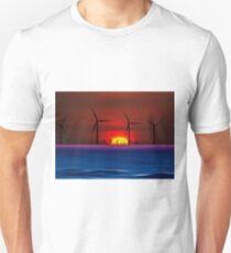 Sunset Wind Farms (Digital Art) T-Shirt