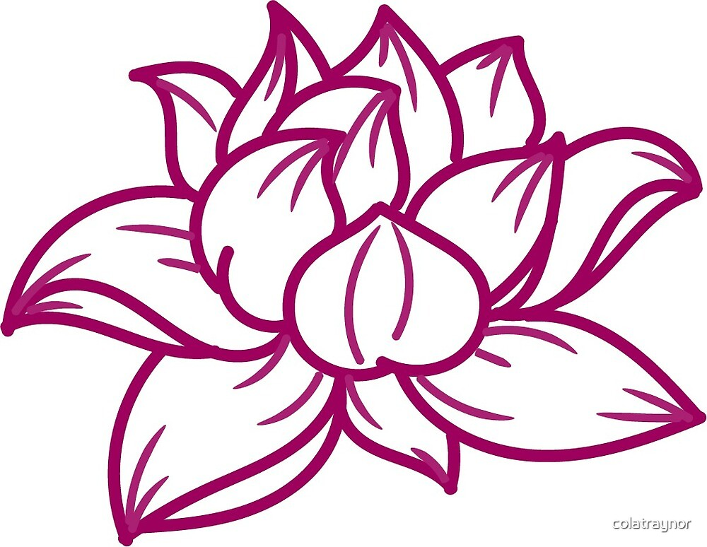 Lotus Flower Maroon Simple Outline Design By Colatraynor Redbubble