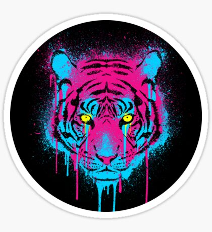 CMYK Tiger Graffiti Sticker