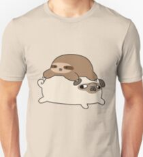 Little Sloth and Pug Slim Fit T-Shirt
