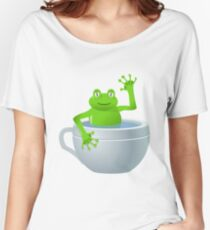 Animal cartoon color frog in cup Women's Relaxed Fit T-Shirt