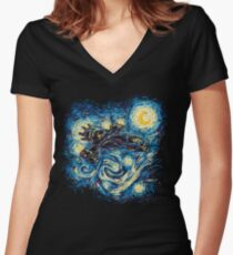 Starry Flight Women's Fitted V-Neck T-Shirt