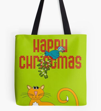 Happy Christmas in Red Tote Bag