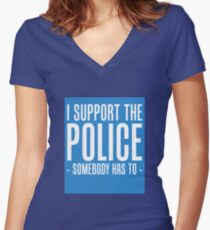 I SUPPORT THE POLICE Women's Fitted V-Neck T-Shirt