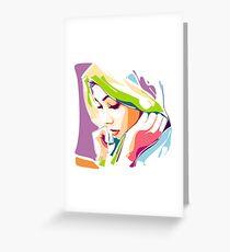 Sad Girl - Popart Portrait Greeting Card