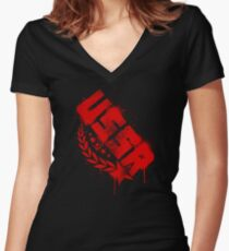 Russian Red Women's Fitted V-Neck T-Shirt