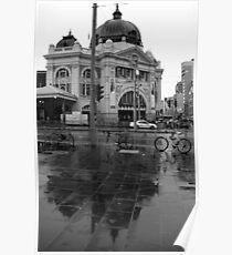 Rainy Day - Flinders Street Station, Melbourne Poster