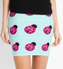 Pink Ladybug on Teal Mini Skirt
