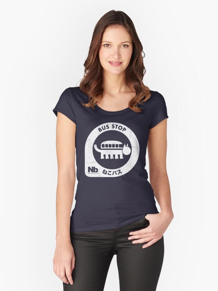 Neko Bus Stop Women's Fitted Scoop T-Shirt Front