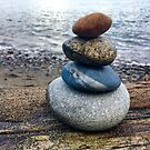 Rock Cairn on a log by Trish Peach
