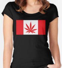 Canadian Flag Marijuana Leaf Women's Fitted Scoop T-Shirt
