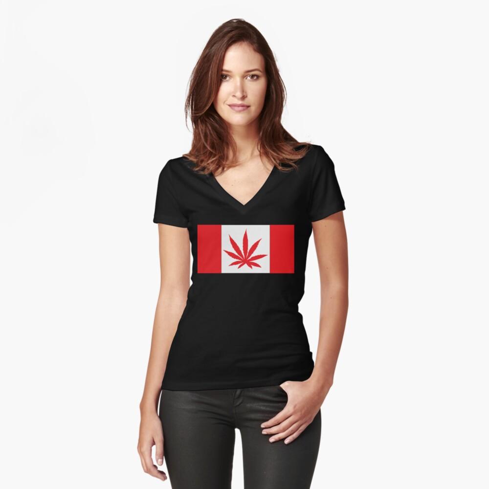 Canadian Flag Marijuana Leaf Women's Fitted V-Neck T-Shirt Front