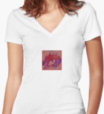 Dragon head in abstract and geometry  Women's Fitted V-Neck T-Shirt