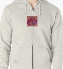 Dragon head in abstract and geometry  Zipped Hoodie