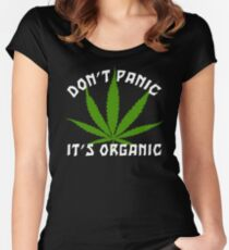 Funny Cannabis Don't Panic It's Organic Women's Fitted Scoop T-Shirt