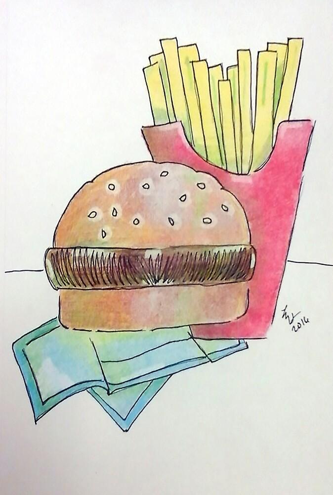 Hamburger with fries by Loretta Nash