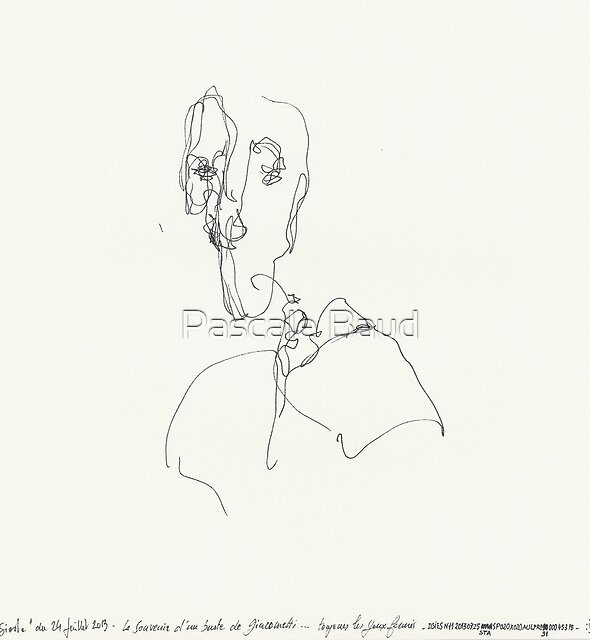 (Night) Nap Drawings 11 - Bust of Diego (after Giacometti) from memory - 24th July 2013 by Pascale Baud