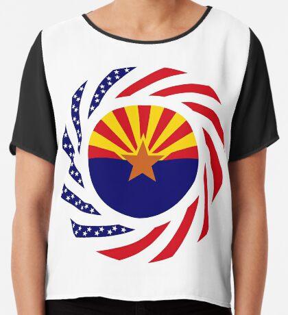 Arizonan Murican Patriot Flag Series Chiffon Top