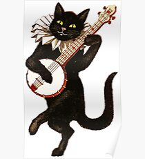 Vintage Cat Playing Banjo Poster