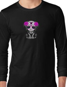 Cute Purple Day of the Dead Puppy Dog Blue Long Sleeve T-Shirt