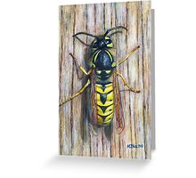 Acrylic painting, Wasp nature art Greeting Card