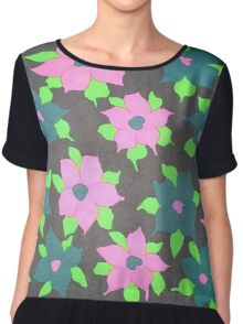 Bold Flowers in Pink and Blue Chiffon Top