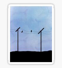 two birds on a wire Sticker