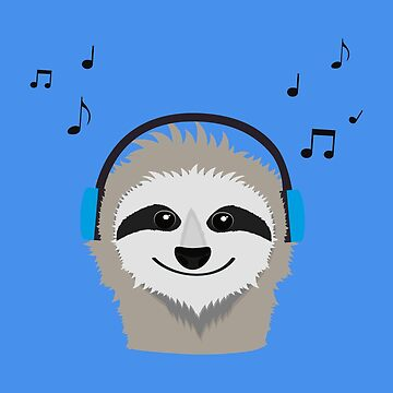 Sloth with headphones by ilovecotton