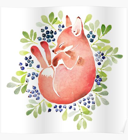 Sleeping fox and blue berries Poster