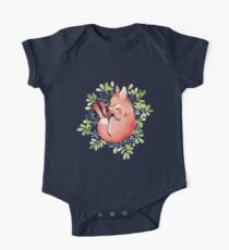 Sleeping fox and blue berries One Piece - Short Sleeve