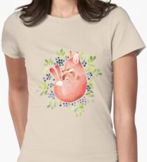 Sleeping fox and blue berries Womens Fitted T-Shirt