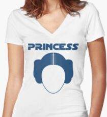 Star Wars Princess Leia Carrie Fisher Women's Fitted V-Neck T-Shirt