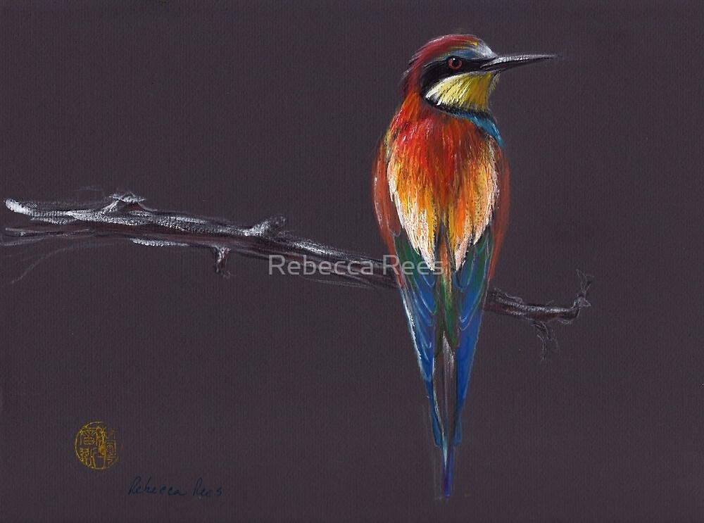"""""""The European""""  original mixed media painting of a European Bee-eater bird by Rebecca Rees"""