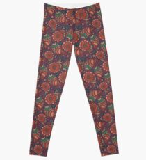 boho ornament red&violet Leggings