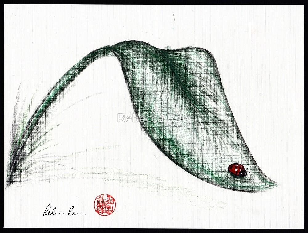 """Leaf Me Alone"" - Ladybug drawing by Rebecca Rees"
