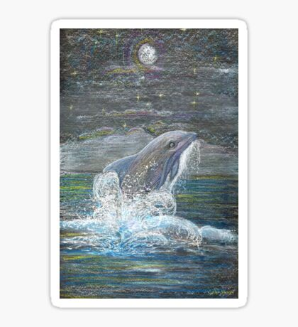 Dolphin Leap for the Moon Sticker