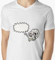 spooky cartoon skull Men's V-Neck T-Shirt