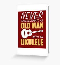 Old Man With Ukulele Greeting Card