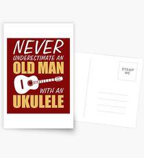 Old Man With Ukulele  Postcards